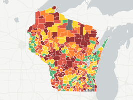 Map: Comparing Wisconsin students' test scores