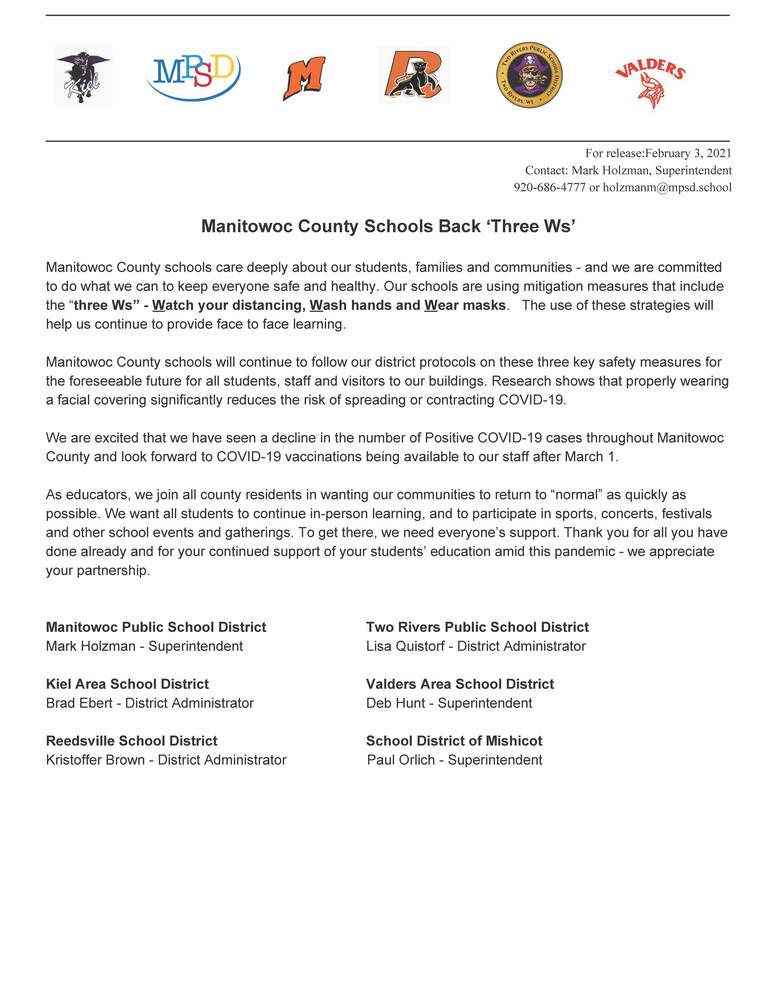 Manitowoc County Schools Back 'Three Ws'