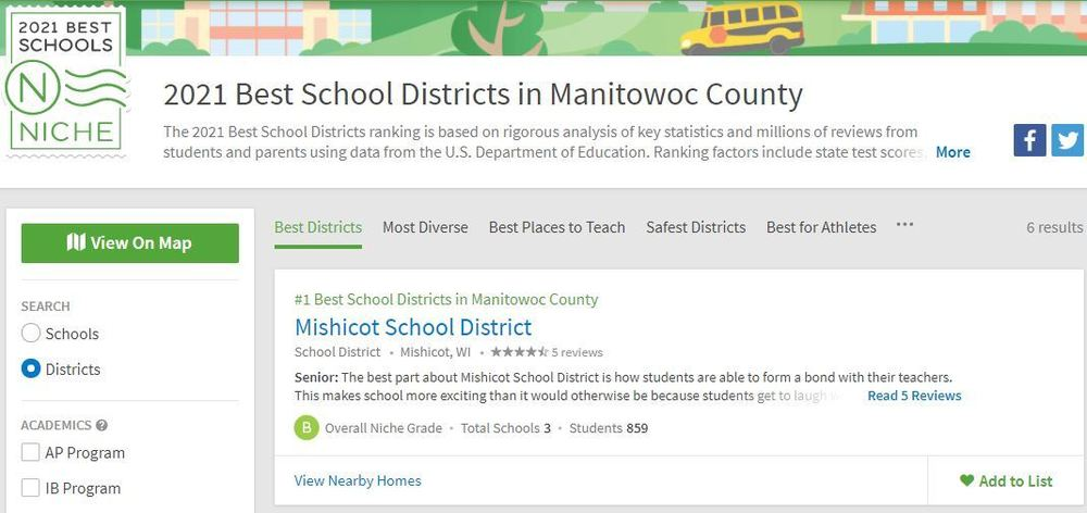 #1  Best School District in Manitowoc County